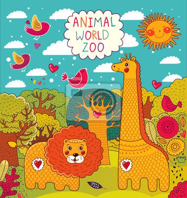 Fototapeta Ilustracji wektorowych ze zwierzętami