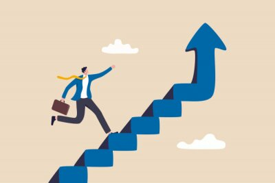 Fototapeta Improvement or career growth, stairway to success, growing income or improve skill to achieve business target concept, confidence businessman step walking up stair of success with rising up arrow.