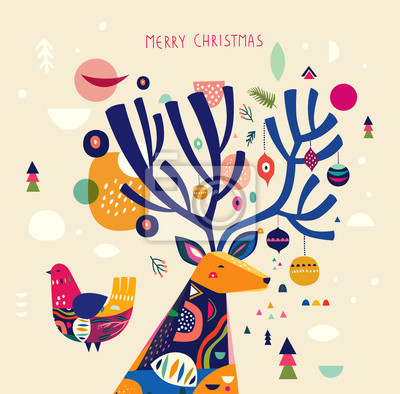 Incredible Christmas illustration with amazing colorful deer.