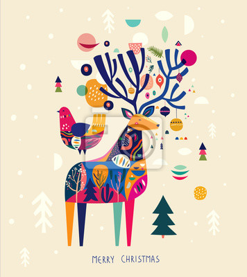 Fototapeta Incredible Christmas illustration with amazing colorful deer and bird.