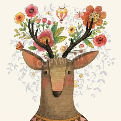 Fototapeta Incredible jelenie przeraźliwą kwiatów. Piękny koncepcja wiosna w wektorze. Słodkie jelenie i kwiaty wykonane w technice akwareli