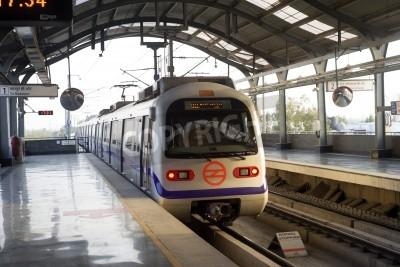 Fototapeta Indian modern metro train in Delhi