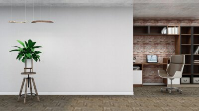 Fototapeta Industrial empty room, photorealistic 3D Illustration of the interior, suitable for using in video conference and as a zoom background.