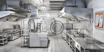 Fototapeta Industrial kitchen. Restaurant kitchen. 3d illustration