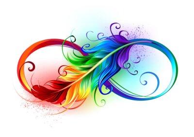 Fototapeta Infinity symbol with rainbow feather