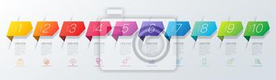 Fototapeta Infografiki projekt wektor i biznes ikony z 10 opcji.