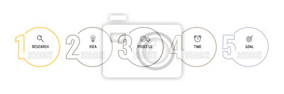 Fototapeta Infographic template for business process. Thin line design with numbers 5 options or steps. Vector illustration graphic design