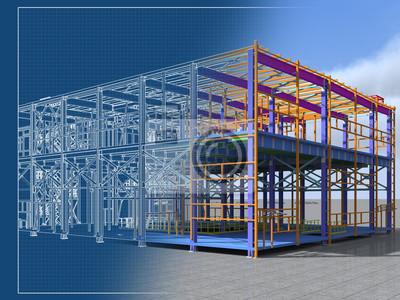 Fototapeta Informacje o budynku Model konstrukcji metalowej. Model 3D BIM. Budynek składa się ze stalowych kolumn, belek, połączeń itp. Renderowanie 3D. Inżynieria, przemysł, budownictwo Tło BIM.