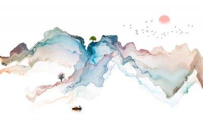 Fototapeta Ink landscape decoration illustration abstract line poster background