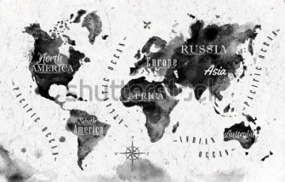 Fototapeta Ink world map in black and white graphics in vintage style