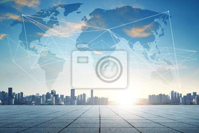 Fototapeta Inteligentne miasto i bezprzewodowy internet Wi-Fi. Sieć komunikacyjna.