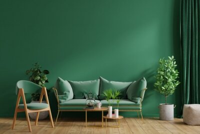 Fototapeta Interior mockup green wall with green sofa and green armchair in living room.