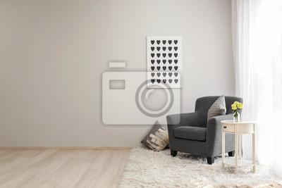 Fototapeta Interior of light room with cozy armchair near window