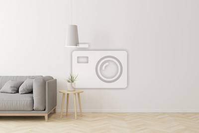 Fototapeta Interior of living room modern style with grey fabric sofa,wooden side table and white ceiling lamp on wooden floor.