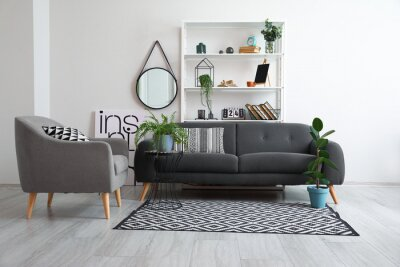 Fototapeta Interior of modern living room with book shelf