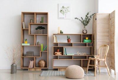 Fototapeta Interior of modern room with shelf units