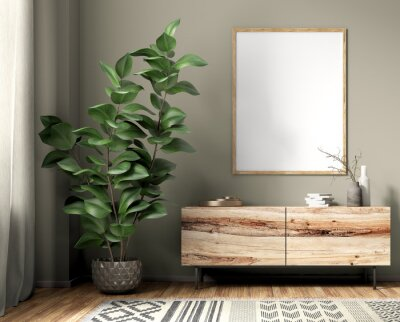 Fototapeta Interior with wooden sideboard and poster 3d rendering