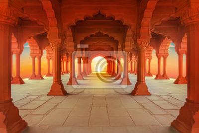 Fototapeta  interiors of Red Fort in Delhi at sunset, India