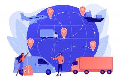 Fototapeta Internet store goods international shipment. Global transportation system, worldwide logistics and distribution, worldwide delivery service concept. Pinkish coral bluevector isolated illustration