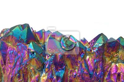 Fototapeta Iridescent specimen of titanium aura quartz crystals, isolated on a white background.