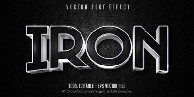 Fototapeta Iron text, metallic silver style editable text effect