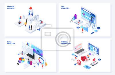 Fototapeta Isometric 3d illustrations set. Startup, seo and data analysis, digital marketing with characters.