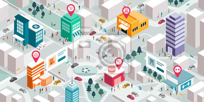 Fototapeta Isometric city map with people, buildings and pin pointers