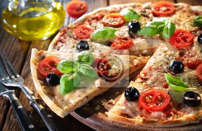 Fototapeta Italian pizza with mozzarella