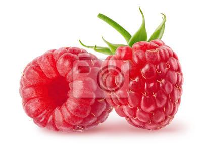 Fototapeta Izolowane jagody. Dwa świeże owoce maliny samodzielnie na białym tle ze ścieżką przycinającą