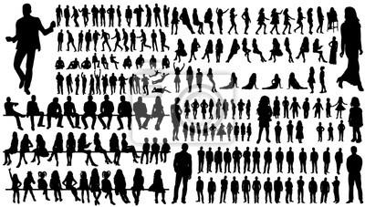 Fototapeta izolowane, zbiór silhouettes ludzi ludzi i kobiet