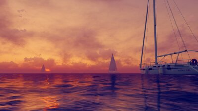 Fototapeta Jachty na mętne słońca