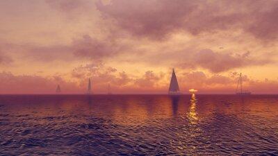 Fototapeta Jachty na tle wschodzącego słońca