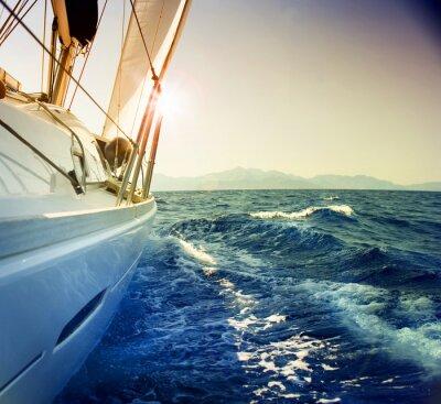 Fototapeta Jachty przeciwko sunset.Sailboat.Sepia stonowanych