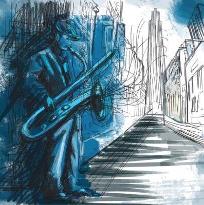 Fototapeta jam session - saksofonista na ścianę do klubu jazzowego