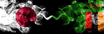 Fototapeta Japan vs Zambia, Zambian smoky mystic flags placed side by side. Thick colored silky smokes combination of Zambia, Zambian and Japanese flag