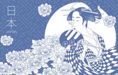 Fototapeta Japanese woman is wearing traditional Japanese clothes. Geisha Costume. Flower pattern. Hand drawn vector illustration.