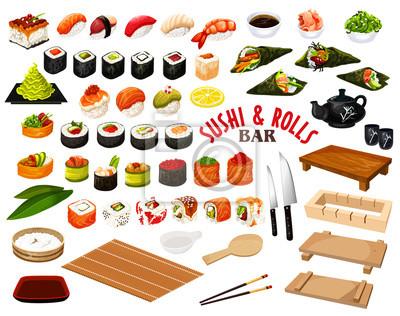 Fototapeta Japońska kuchnia od sushi i rolek prętowego wektoru