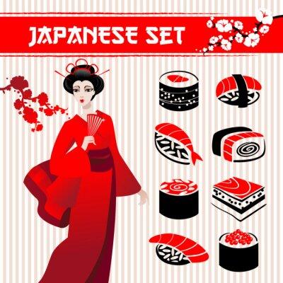 Fototapeta Japoński zestaw: tradycyjne jedzenie sushi, gejsze