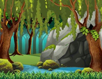Fototapeta Jaskinia w lesie głębokim
