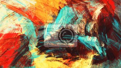 Jasne artystyczne plamy ciepła. Abstrakcyjna piękne wielokolorowego malowania koloru tekstury. Nowoczesne futurystyczne tło koloru. Fraktalna grafika do kreatywnego projektowania graficznego