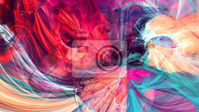 Jasne artystyczne plamy. Malarstwo abstrakcyjne tekstury kolorów. Nowoczesny futurystyczny wzór. Dynamiczne jasne tło multicolor. Fraktalna grafika do kreatywnego projektowania graficznego