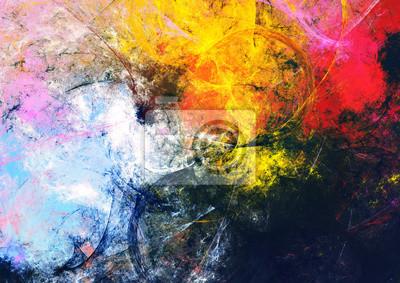 Jasne plamy artystyczne. Abstrakcyjna piękne wielokolorowego malowania koloru tekstury. Nowoczesne futurystyczne tło koloru. Fraktalna grafika do kreatywnego projektowania graficznego