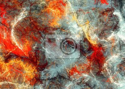 Jasne plamy artystyczne. Abstrakcyjne malowanie koloru tekstury. Nowoczesny futurystyczny wzór. Czerwony i szary dynamiczne t? O. Fraktalna grafika do kreatywnego projektowania graficznego