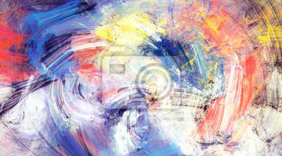 Jasne plamy artystyczne na białym tle. Malarstwo abstrakcyjne kolor tekstury. Nowoczesny futurystyczny wzór. Dynamiczne tło wielokolorowe. Fraktalna grafika do kreatywnego projektowania graficznego