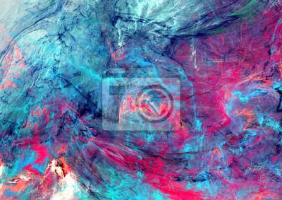 Jasne plamy artystycznych. Malarstwo abstrakcyjne tekstury kolor. Nowoczesne futurystyczne wzoru. Niebieskie i różowe tło dynamiczne. Fractal grafika dla kreatywnego projektowania graficznego