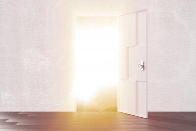 Fototapeta Jasne światło z otwartych drzwi pustego pokoju