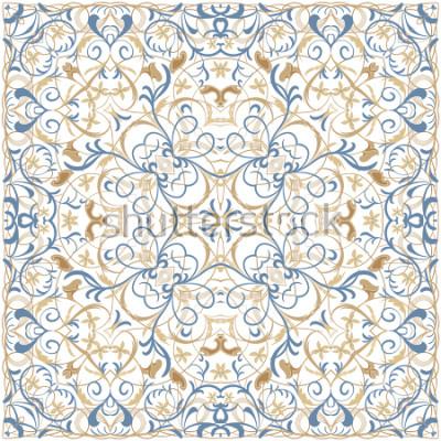 Fototapeta Jasny kolor wzór w stylu orientalnym. Kwadratowy ornament na szale, chusty lub poduszkę. Może być używany do drukowania na tkaninie lub papierze. Ilustracji wektorowych.