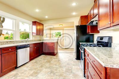 Jasny Pokój Kuchnia Z Pełnym Wyposażeniem I Stalowych Czarnych Fototapety Redro