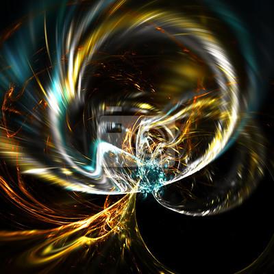 Jasny, rozżarzony pierścień. Abstrakcyjna futurystyczne tła z mocą oświetlenia dla kreatywnego projektowania. Błyszczący szablon do tapet pulpitu, plakatu, okładki, ulotki. Sztuka fraktalna