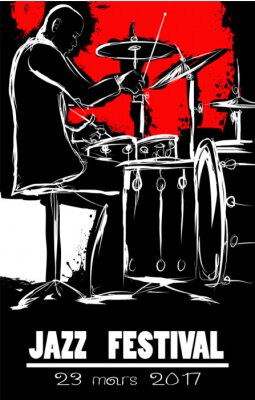 Jazz Festiwal Plakat z perkusistą